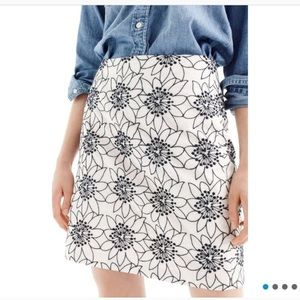 J. CREW EMBROIDERED FLORAL MINI SKIRT
